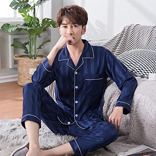 SleepWears Nachtkleding Mannen pyjama Lente En Herfst Zijde Jonge mannen IJs Zijde Vest Middelbare leeftijd Thuis Service