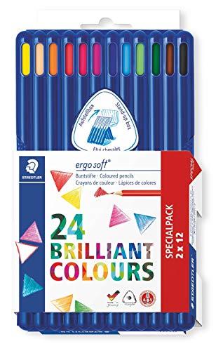 Staedtler ergo soft 157 SB12P2 Buntstifte, erhöhte Bruchfestigkeit, dreikant, Set mit 24 Stiften