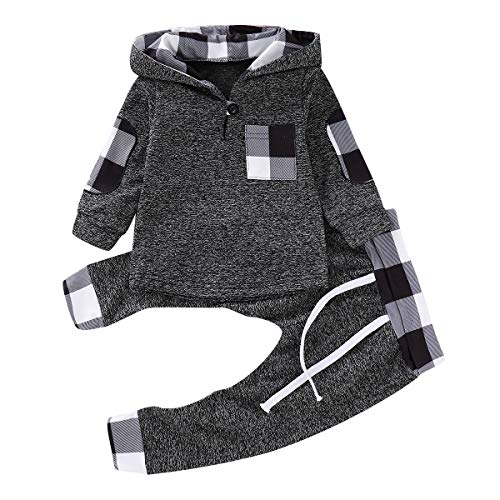 Verve Jelly Kleinkind Baby Boy Langarm Plaid Hoodie Tops + Lange Hosen 2pcs Winter Herbst Kleidung Set