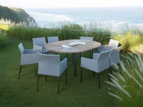 CATAX & TAJAX Gartenmöbel Sitzgruppe A 9-teilig Gartenset Zebra Teak recycelt & Leisuretex