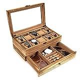 Watch Box - 10 Slot Watch Case Display for Men Women, Watch Organizer Made of Solid Wood & Soft Linen