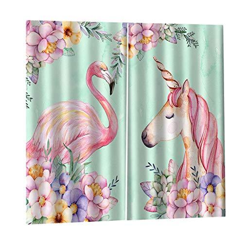 FLAMEER Verdunkelungsvorhang Kräuselband Blickdicht Gardinen Flamingo Vorhang Thermovorhang Wanddeko - 170 x 200 cm