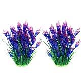 JIH - Plantas de plástico para acuarios, decoración de peceras, hechas de plástico suave de 8 pulgadas de alto (2 unidades), color morado