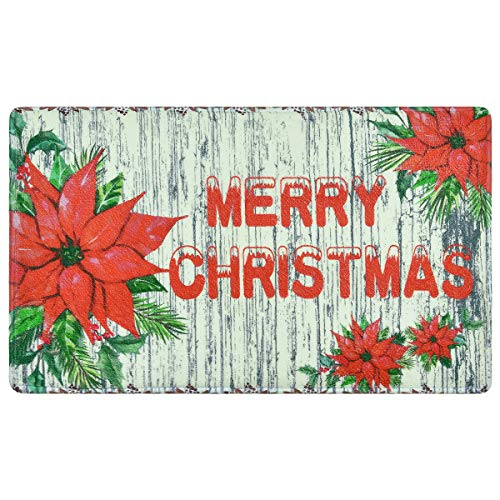 Christmas Rugs Merry Christmas Doormats 18 × 30 Inches Christmas Red Flowers Area Rugs Anti Slip Mats for Indoor Entryway Living Room Bedroom Kitchen