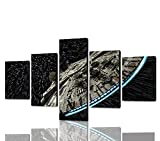 Yatsen Bridge Wall Art Decor for Living Room 5 Panels Star Wars Destroyer Millennium Falcon Canvas Painting Modern Print Picture Poster Artwork Home Decoration Framed Ready to Hang (60''Wx32''H)