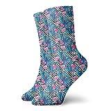 Calcetines de compresión para mujer y hombre, acuarela, flamencos y orquídeas, con flores azules y flores, ideal para circulación, médico, correr, atletismo, enfermera, viajes