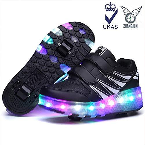 ZHANGJUN Led Light Up Schuh Automatische Wanderschuhe Unsichtbare Riemenscheiben Schlittschuhe Roller Männlich Und Weiblich Zweireihig Deform Wheel Skating Erwachsene Kinder,Black2-38
