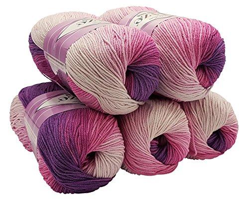 Alize Cotton gold 5 x 100g Strickwolle 55% Baumwolle, 500 Gramm Wolle mit Farbverlauf Mehrfarbig (Beere rosa weiß 3302)