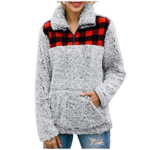 Goosuny Damen Sweatshirt Flauschige Faux Teddy-Fleece Pullover Mit Kragen Zip Rollkragenpullover Winter Mantel Outwear Oberteil Mode Warm Langarmshirt Kapuzenpullover