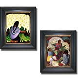 Artistic Home Gallery The Flower Seller & Flower Vendor by Diego Rivera 2-pc Premium Black & Gold Framed Canvas Set (Ready-to-Hang)