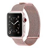 WareWel - Stainless Steel Apple Watch Compatible Bands for Men & Women (Milanese Mesh Rose Gold, 38/40) | Quick Install Replacement Apple Watch Bracelet Bands | Premium Finish & Sturdy Closure