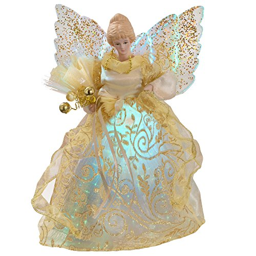 WeRChristmas Fibre Optic Christmas Tree Topper Angel, 25 cm - Gold