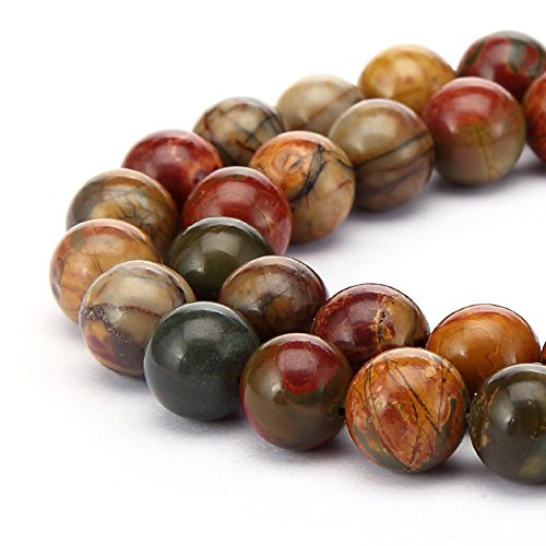 1 Strand Natural Picasso Jasper Gemstone 6mm (0.24 inch) Round Loose Stone Beads (~ 58-62pcs) for Jewelry Craft Making GF10-6