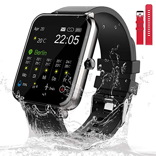 Smart Watch 1,54 Zoll Touchscreen Fitnessuhr Wasserdicht Sportuhr mit Herzfrequenzmesser Schrittzähler Schlafmonitor für Herren Damen iOS Android