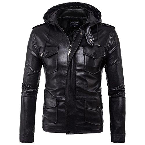 WSLCN Jaqueta masculina vintage de couro PU Zippé jaqueta motociclista masculina jaqueta com capuz corta-vento casaco com capuz de manga comprida, Preto, US M (Asian XL)