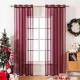 MIULEE 2 paneles de color sólido vino rojo Navidad cortinas elegantes ojales en la parte superior de la ventana paneles de gasa/cortinas para el recámara sala de estar (54x63')