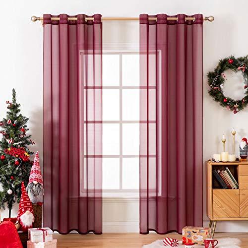 MIULEE 2 paneles de color sólido vino rojo Navidad cortinas elegantes ojales en la parte superior de la ventana paneles de gasa/cortinas para el recámara sala de estar (137 x 183 cm)