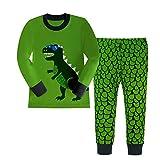 Kidslove Dinosaur Boys Pajama Sets 100% Cotton Sleepwear O-Neck Size 4T Green