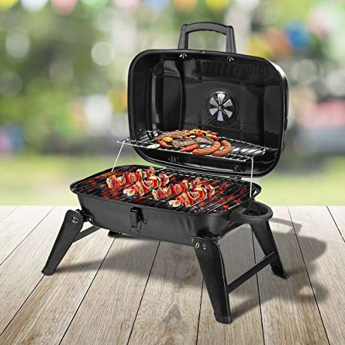 Great Features Of Charcoal Grill Portable BBQ Lid Top Tabletop Barbecue Outdoor Cooking Yard Patio C...