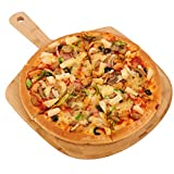 Bamboo Pizza Peel, Wooden Pizza Spatula Paddle, Pizza Cutting Board with Handle for Baking Pizza, Bread, Cutting Fruit, Vegetables, Cheese and Serving Board, 17 x 12 Inch