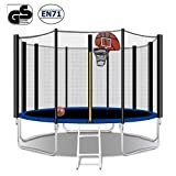12FT Trampoline with Hoop Combo Bounce Jump Trampoline for Kids Outdoor Entertainment with/Safety Enclosure Net Spring Pad Ladder
