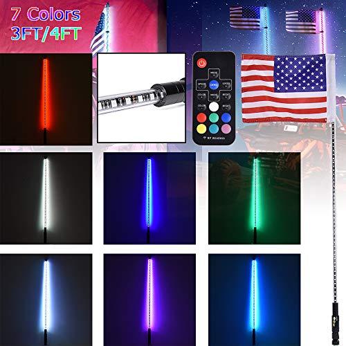 3FT 4FT beleuchtete RGB-LED-Peitschenantenne mit Fahne und Fernbedienung für Polaris RZR ATV-Peitschen-UTV-Quad-Sanddünen-Buggy-Fahnenmasten für trucks (4FT)
