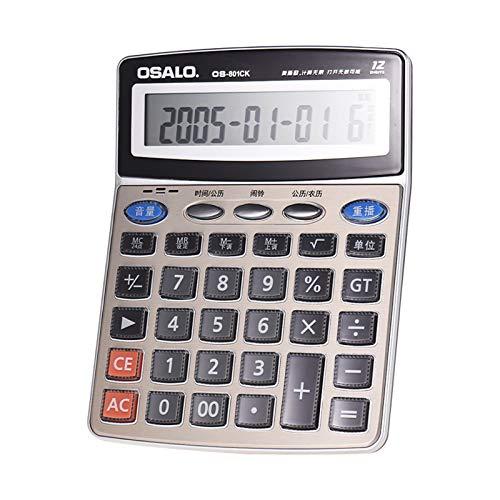Calculadora de Funciones Musicales,Fesjoy OS-801CK Calculadora electrónica de Escritorio Musical multifunción Contador LCD de 12 dígitos con Reloj Despertador Calendario Funciones de Lectura de Voz