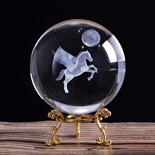 zxb-shop Gazing Divination or Feng Shui Ball 80mm 3D laser Engraved Miniature Pegasus Crystal Ball Crystal Craft Sphere Glass Home Decoration Ornament Birthday Gift Crystal Ball