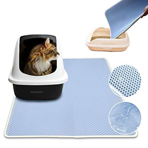 HyAdierTech Tappetino Lettiera per Gatto Doppio Strato, Pieghevole a Doppio Strato Impermeabile Cat Feeding Tappetino per Proteggere Pavimenti e tappeti Facile da Pulire