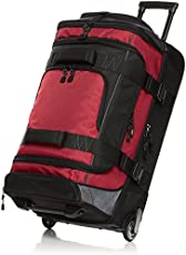 Amazon Basics Ripstop Rolling Travel Luggage Duffle Bag With Wheels - 32 Inch, Red