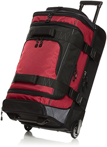 Amazon Basics Ripstop Wheeled Duffel, 76 cm, 86.9 litres - Red