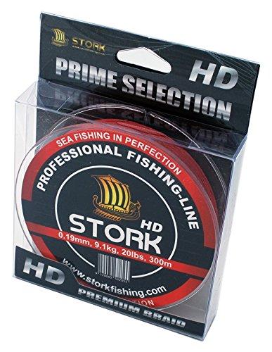 Stork HD, 4-filo linea di pesca intrecciata 300m (Rosso, 20 lbs / 9.1 kg / 0.19 mm)
