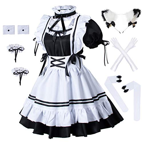 Wannsee Anime French Maid Apron Lolita Fancy Dress Cosplay Costume Furry Cat Ear Gloves Socks Set(L) Black-White