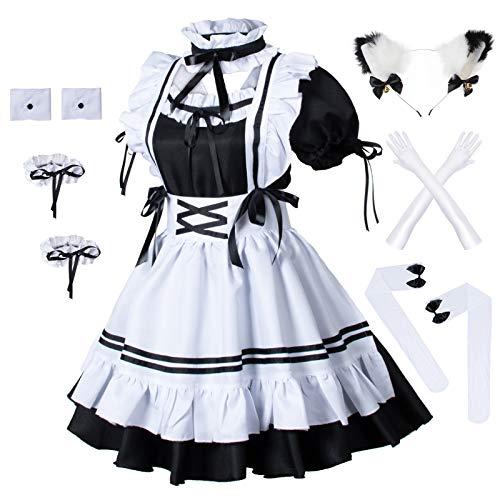 Juego de calcetines con diseo de gato peludo, disfraz de Lolita - negro - 4X-Large