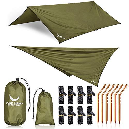 PURE HANG Premium Zeltplane Tarp 3x3 für Hängematte Outdoor Camping 100{4191764a290006b78a4730f4fa771e90cd182aafe2a7121356a76e9e055f2e11} Wasserdicht mit Ösen Sonnensegel Strand Ultra-Leicht Sonnenschutz UV Schutz Regenschutz