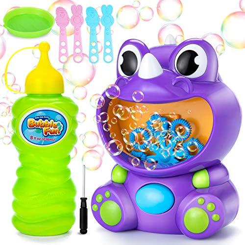Ucradle Seifenblasenmaschine Kinder, Automatischer Bubble Machine Seifenblasen Maschine, Seifenblasen Spielzeug mit 236ml Seifenblasen Flüssigkeit und 4 Stück Blasenstäbe (Dinosaurier)