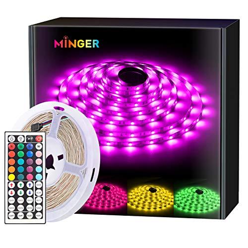 MINGER LED Strip Light 16.4ft Waterproof RGB SMD 5050 LED Rope Lighting Color Changing Full Kit with 44-Keys IR Remote Controller, Power Supply Led Lights for Room Bedroom Home Kitchen Decoration