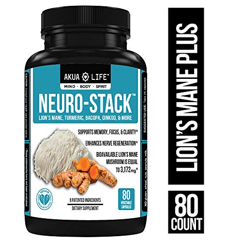 Brain Support Supplement - 27 Nootropics with Absorption Enhancers, Nootropic Stack, Brain Booster, Focus, Anxiety Relief, Vegan, Organic Lion's Mane Mushroom Capsules, Turmeric Curcumin, Bioperine