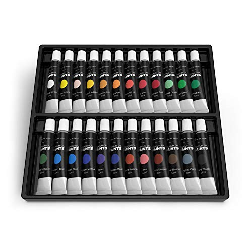 Castle Art Supplies Oil Paint Set - 24 Vibrant Colors in Tubes - Excellent Value Supplies with Beautiful Saturation and Coverage. This Set Makes it Easy and Fun to Explore Oil Painting