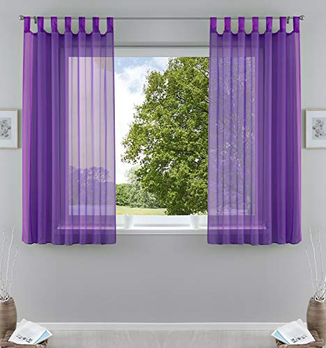 2er-Pack Gardinen Transparent Vorhang Set Wohnzimmer Voile Schlaufenschal mit Bleibandabschluß HxB 175x140 cm Lila, 61000CN