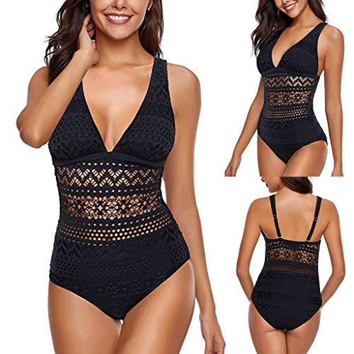 NMSLCNM Bikini-Sets für Damen,Spitzen Push Up Bikini Set Zweiteilige Neckholder Retro Bademode Badeanzug Strandkleidung Oberteil High Waist Bikinihose Sexy Schwimmbikini Sport Bikinis