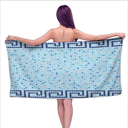 GABRI Toallas de baño Blancas Aqua, Azulejos de Mosaico de Mosaico de Borde Griego Antiguo Diseño Abstracto de Piscina, Azul pálido Azul Marino Beige