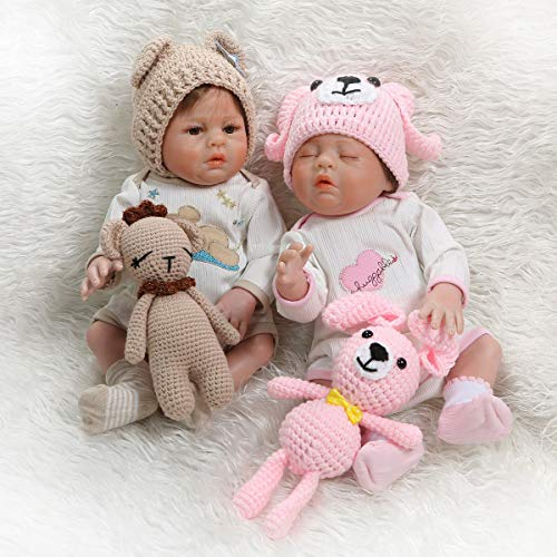 TERABITHIA 18inch 47cm Lifelike Soft Wool Puppy Silicone Vinyl Full Body Reborn Baby Boy Girl Dolls Washable Preemie Pinky Look Newborn Doll Twins