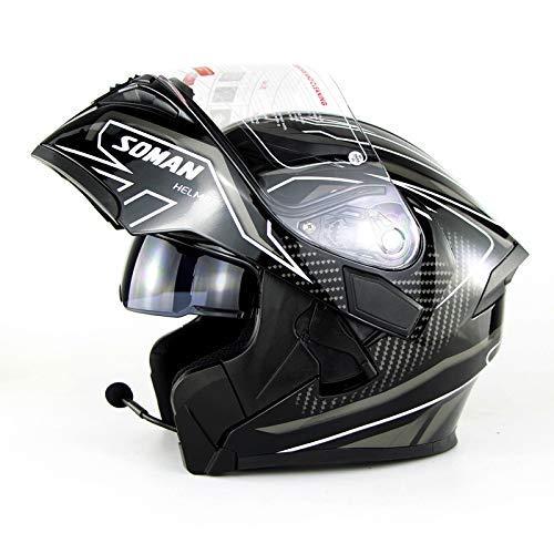 Bluetooth Moto Casco Modular Crash ECE Aprobado cara llena de la motocicleta que compite con el casco de visera for Hombres Mujeres + Gratuito Extra visera, Rojo, M (57~58 cm) dsfhsfd
