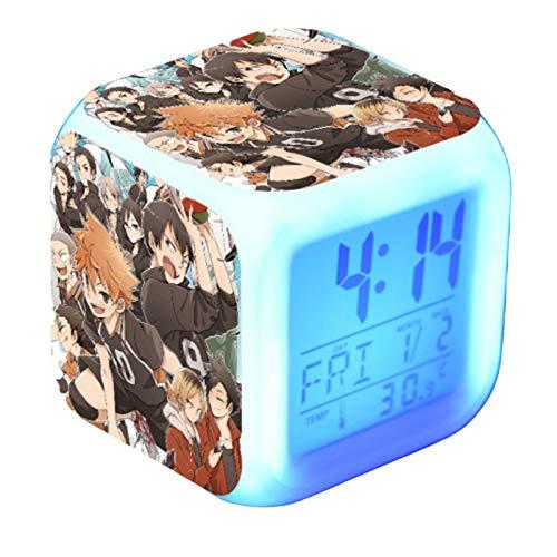 SosoJustgo2 Anime Haikyuu!! Hinata Shoyo Series LED Night Glowing Cube LCD Clock Desk Table Digital Alarm Multi Color Changing Night Light(06)