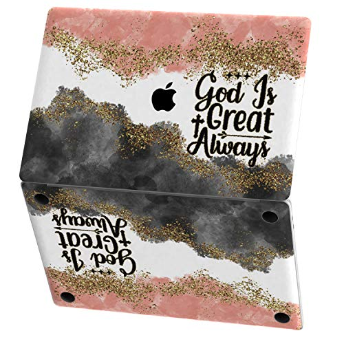 Mertak Vinyl Skin for Apple MacBook Air 13 inch Mac Pro 16 15 Retina 12 11 2020 2019 2018 2017 God is Great Bible Verse Design Decal Touch Bar Quote Christian Inspirational Sticker Print Wrap Abstract
