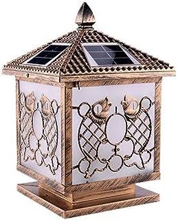 aipipl Lampe à Colonne Solaire à contrôle Intelligent de la lumière Vintage Blanc Chaud Bicolore Lanterne de clôture Lumin...