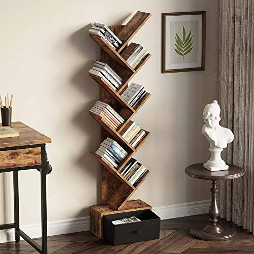 Rolanstar Bookshelf Bookcase with Drawer Floor Standing Tree Bookcase Bookshelves Storage Rack for CDs/Movies/Books Utility Organizer Shelves for Living Room Bedroom Home Office