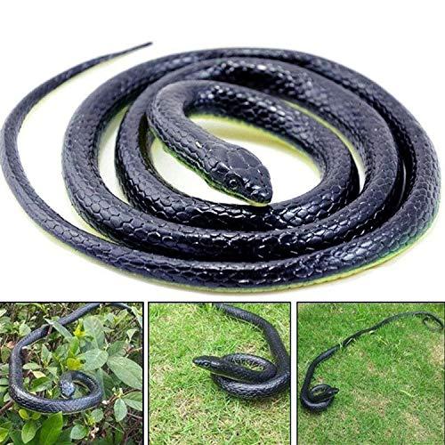 AHZI 50 Inch Long Realistic Garden Rubber Snake Fake Snakes Fool