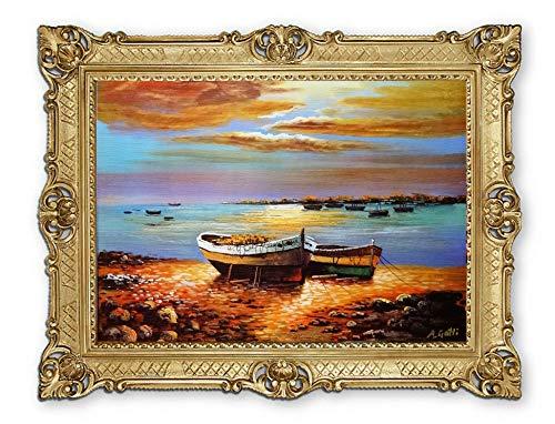 Lnxp Prachtig schilderij van kunstenaars: A.Gotti boot boten schip schip strand zee scheepsbeeld zeilschip zeilboot golven maritiem 90x70 cm afbeeldingen barok antiek repro